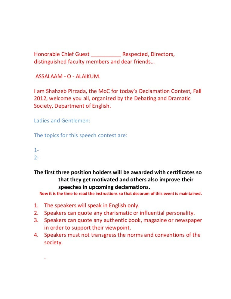 Declamation contest script for moc yelopaper Gallery