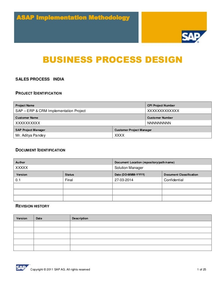 SAP SD Business Blue Print E1 Sales Template – Sales Contract Sample