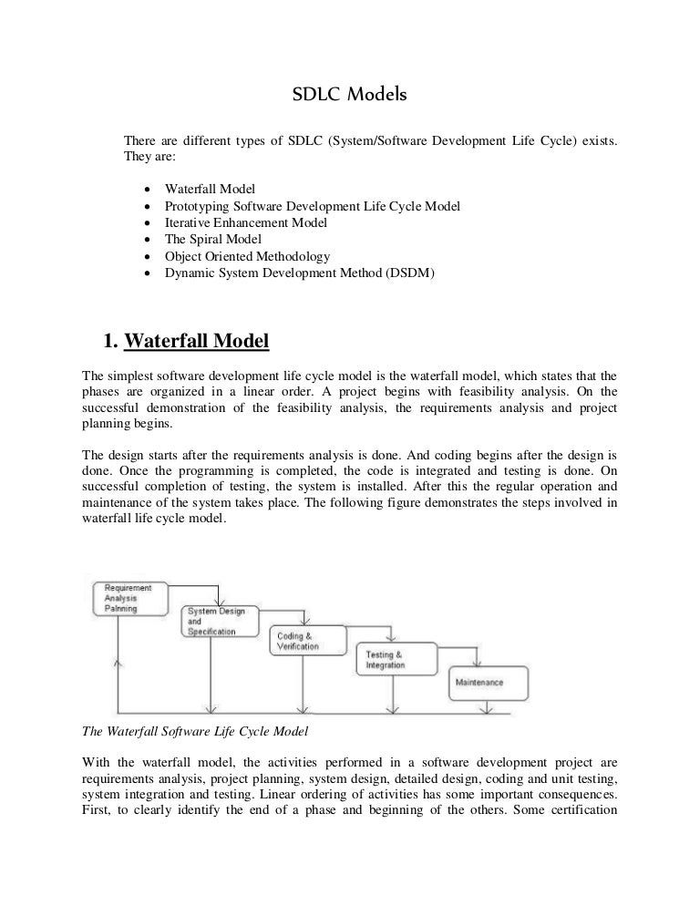 Sdlc model for Waterfall methodology advantages and disadvantages