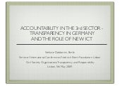 Accountability in the Third Sector – Institutionalisation of Transparency and the Role of new ICT