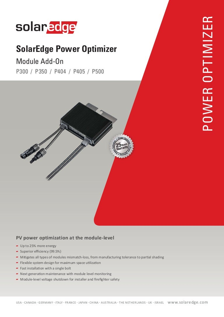 solar edge residential power optimiser
