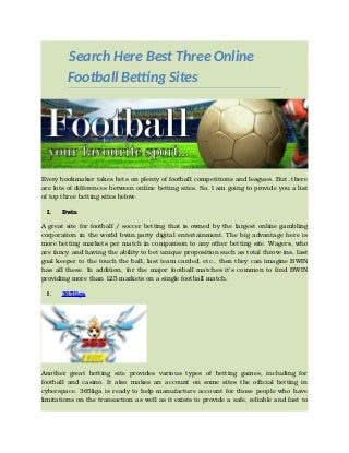 Search Here Best Three Online Football Betting Sites