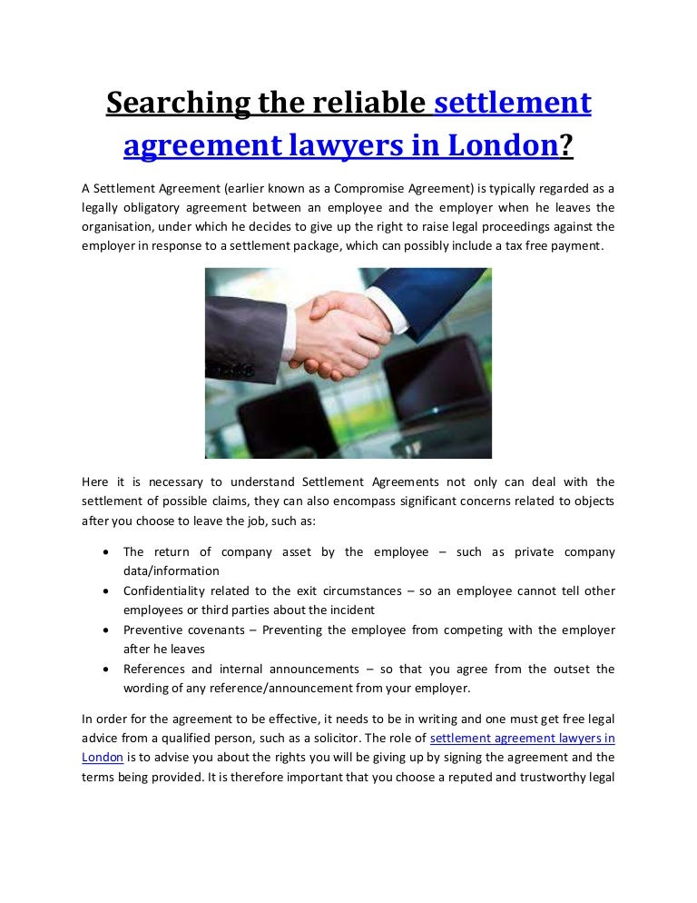 Searching The Reliable Settlement Agreement Lawyers In London