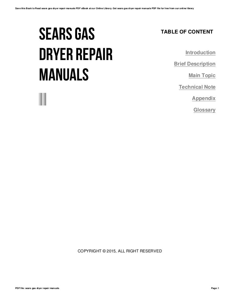 Sears gas dryer repair manuals
