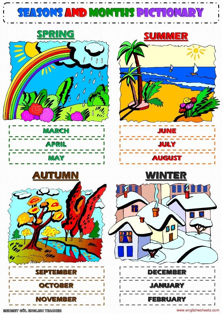 seasons and months pictionary poster worksheet. Black Bedroom Furniture Sets. Home Design Ideas