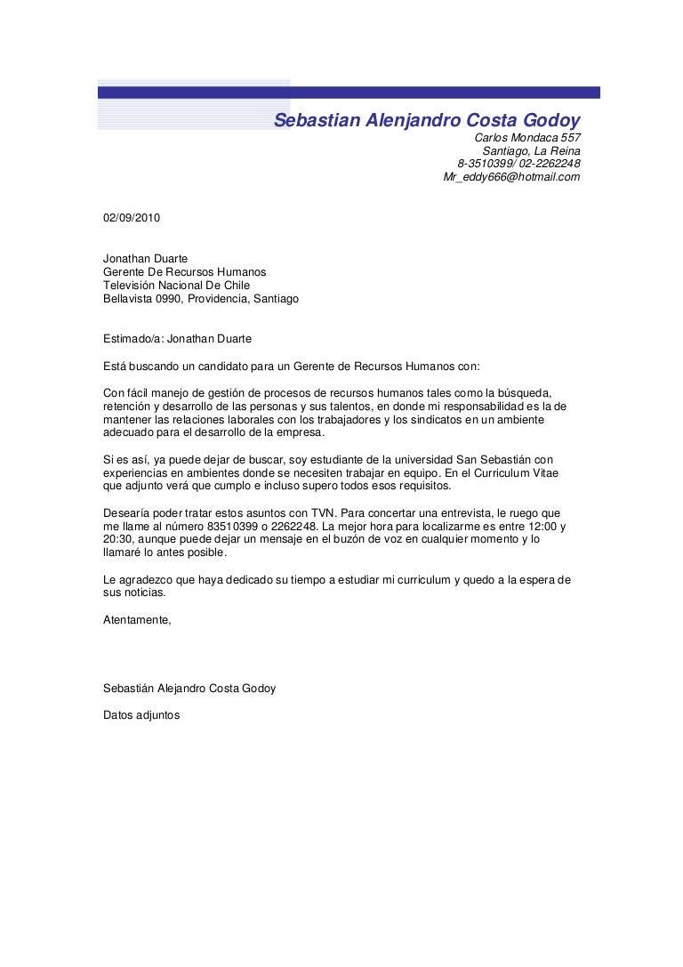 Sebastian alenjandro costa godoy carta de presentación