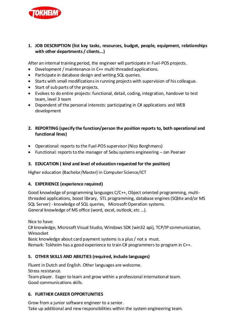 Resume CV Cover Letter sebu software engineer fuel pos – Computer Engineer Job Description