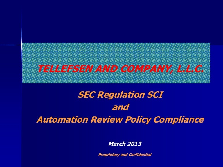 Sec Regulation Sci And Automation Review Policy Compliance