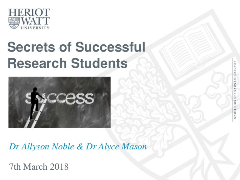 Secrets of Successful Research Students