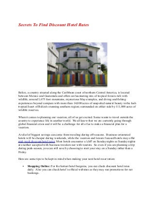 Secrets to find discount hotel rates