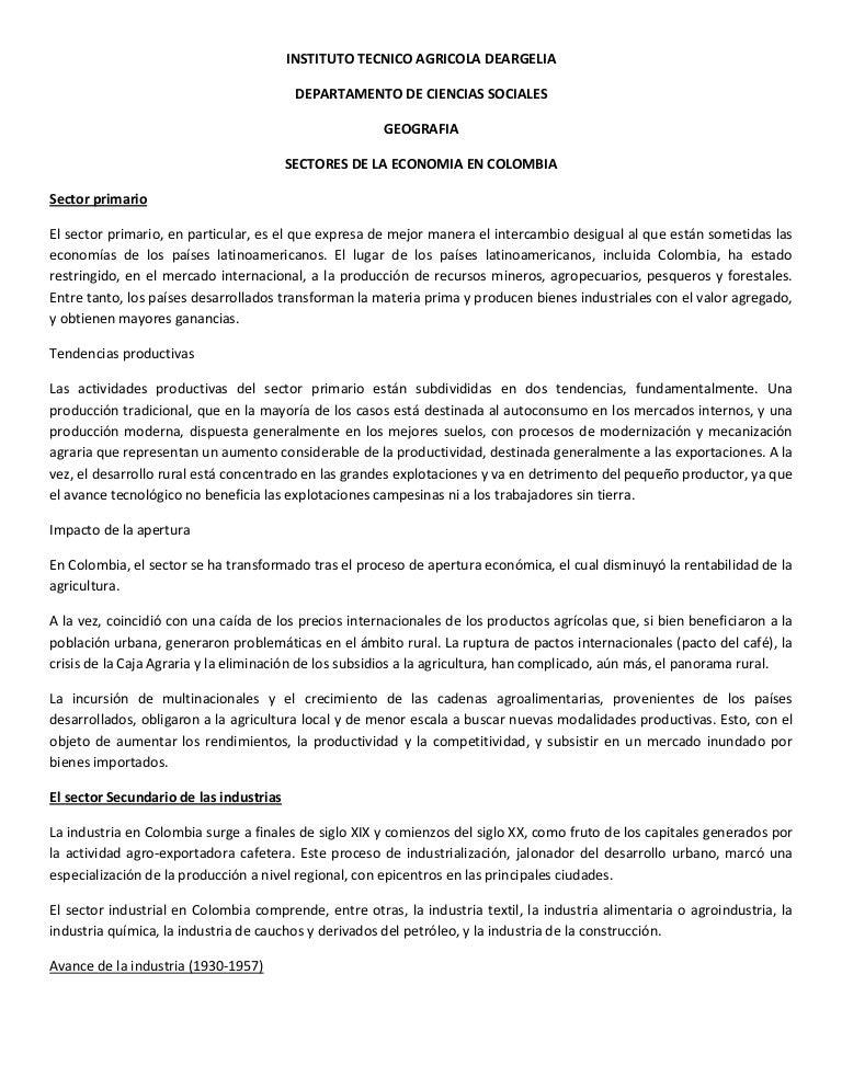 Sectores de la economia en colombia