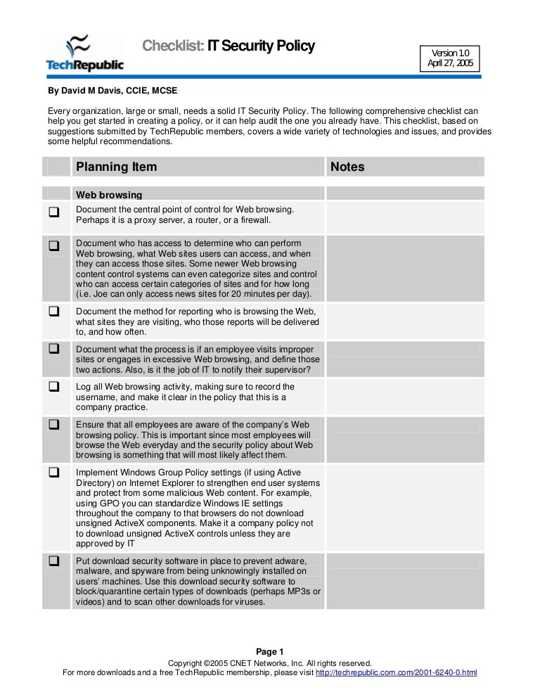 Security policy checklist for Information security standards template