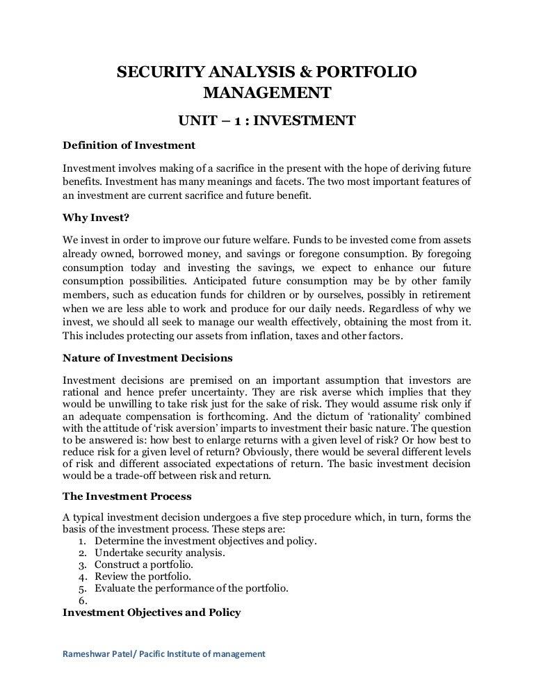 Security Analysis And Portfolio Managment