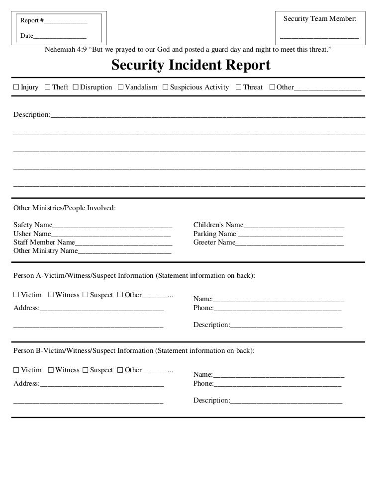 Incident Report Form Official Injury Incident Report Form
