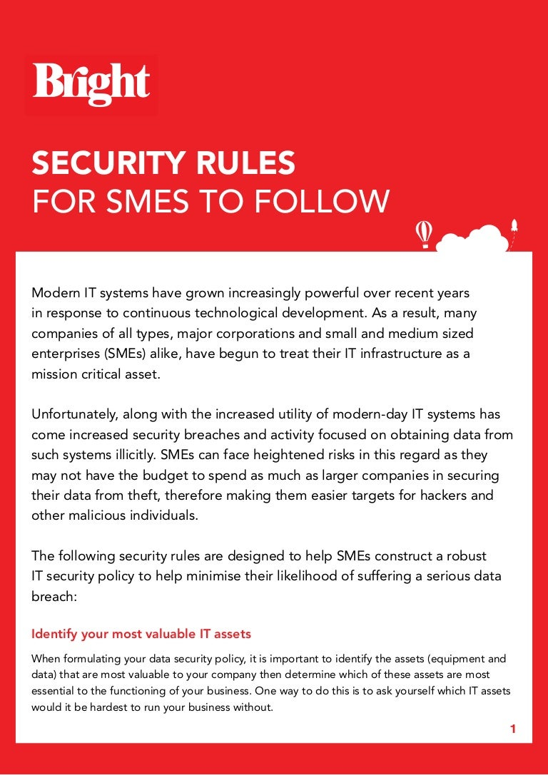Security Rules For Smes To Follow Data Policy Securityrulesforsmestifollow 160907161634 Thumbnail 4cb1473265108