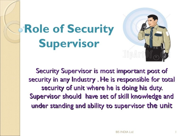 sop of security supervisor rh slideshare net Security Guard Uniforms Security Guard School