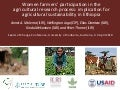 Women farmers' participation in the agricultural research process: Implication for agricultural sustainability in Ethiopia