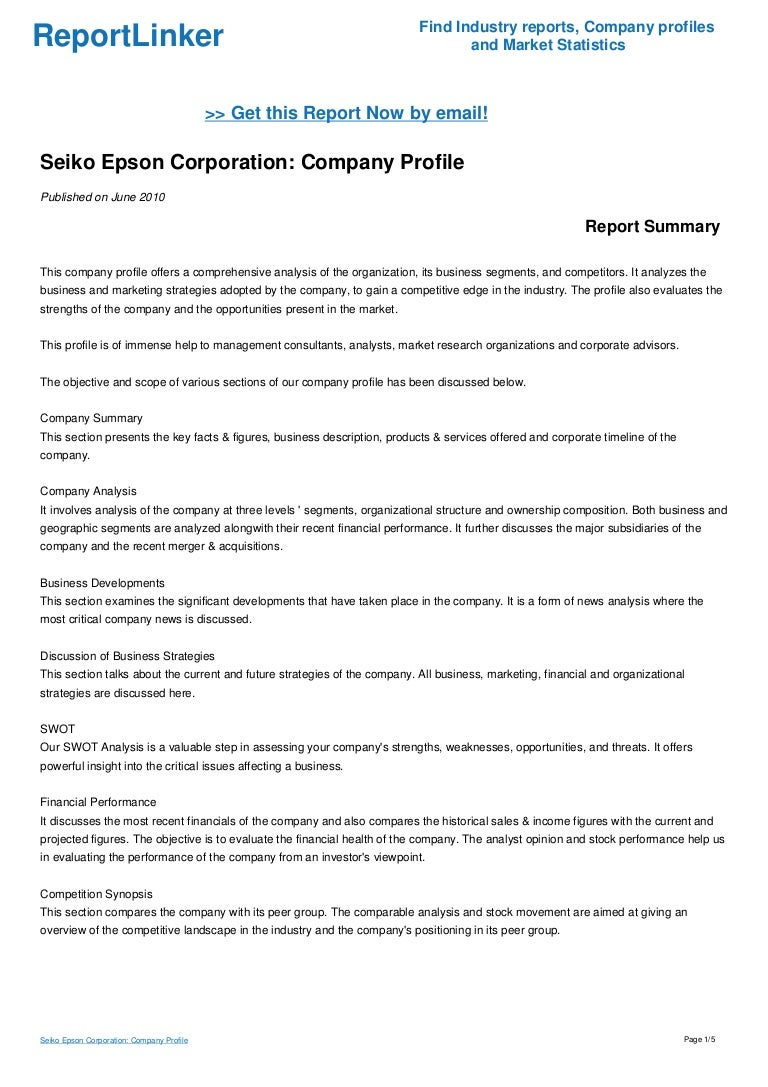 Seiko Epson Corporation Company Profile