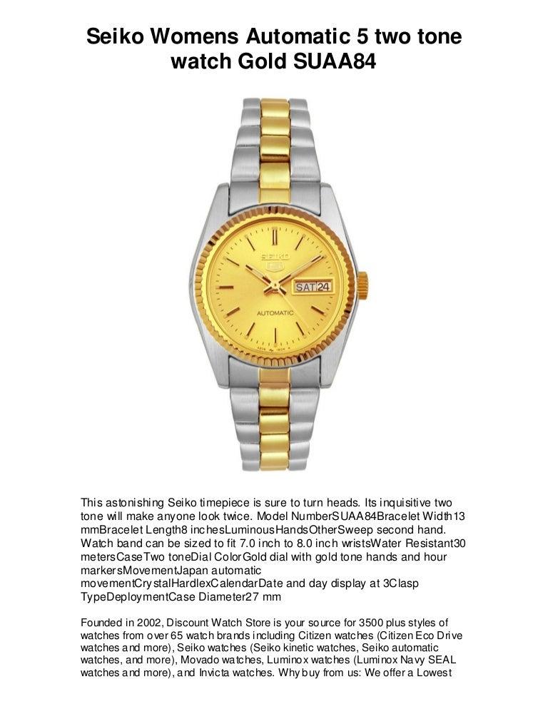 Seiko Womens Automatic 5 Two Tone Watch Gold Suaa84 Free Shipping