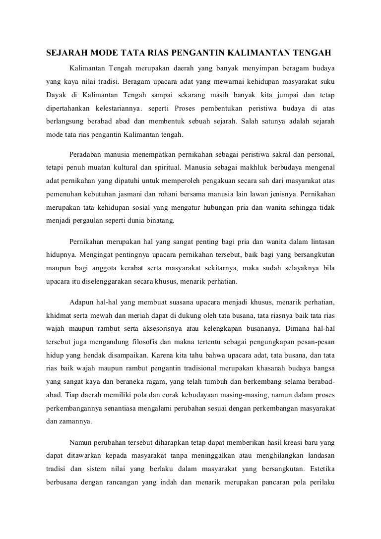 Sejarah Mode Tata Rias Pengantin Kalimantan Tengah