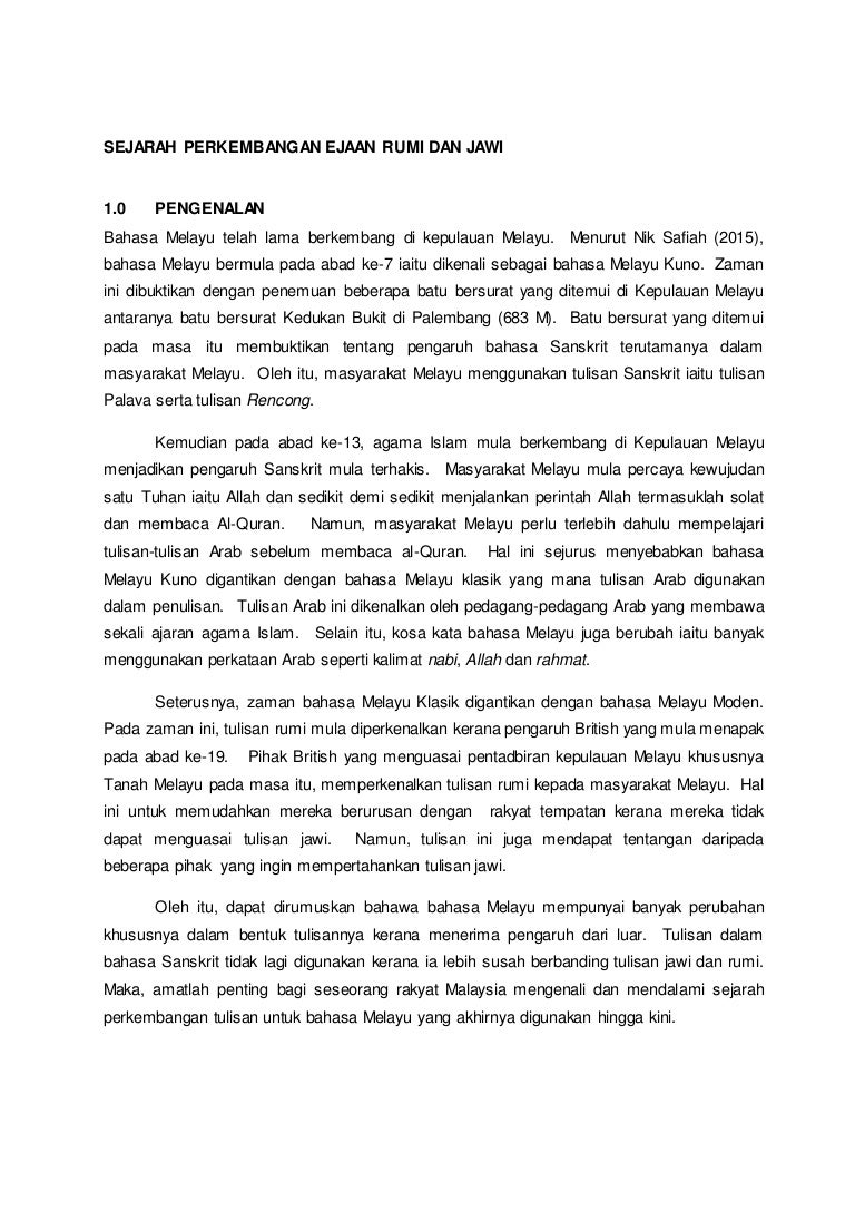 Citaten Rumi Ke Jawi : Sejarah perkembangan ejaan rumi dan jawi