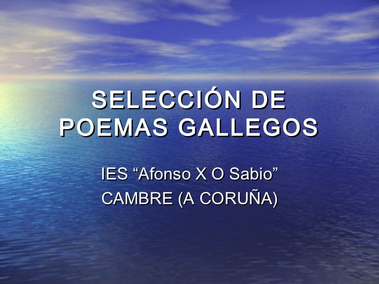 Selección De Poemas Gallegos
