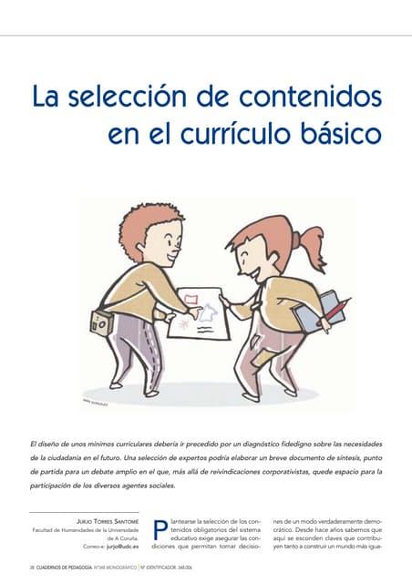 Selección de contenidos en el currículo básico -  Jurjo Torres Santomé, 2005