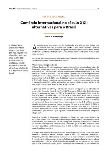 Comércio internacional no século XXI:  alternativas para o Brasil