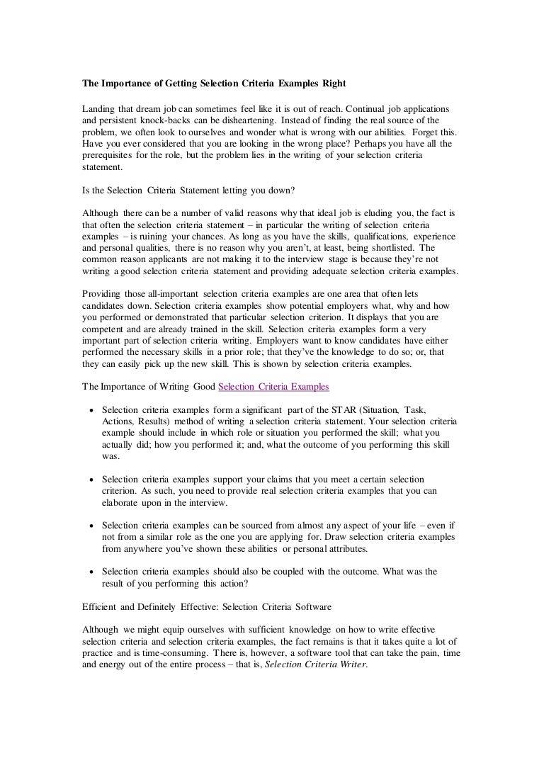 selection criteria examples customer service