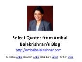 Quotes from Ambal Balakrishnan's Blog - Part 1