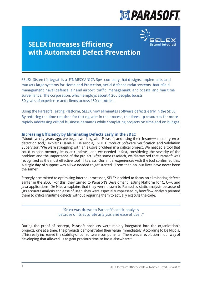 SELEX Increases Efficiency with Automated Defect Prevention