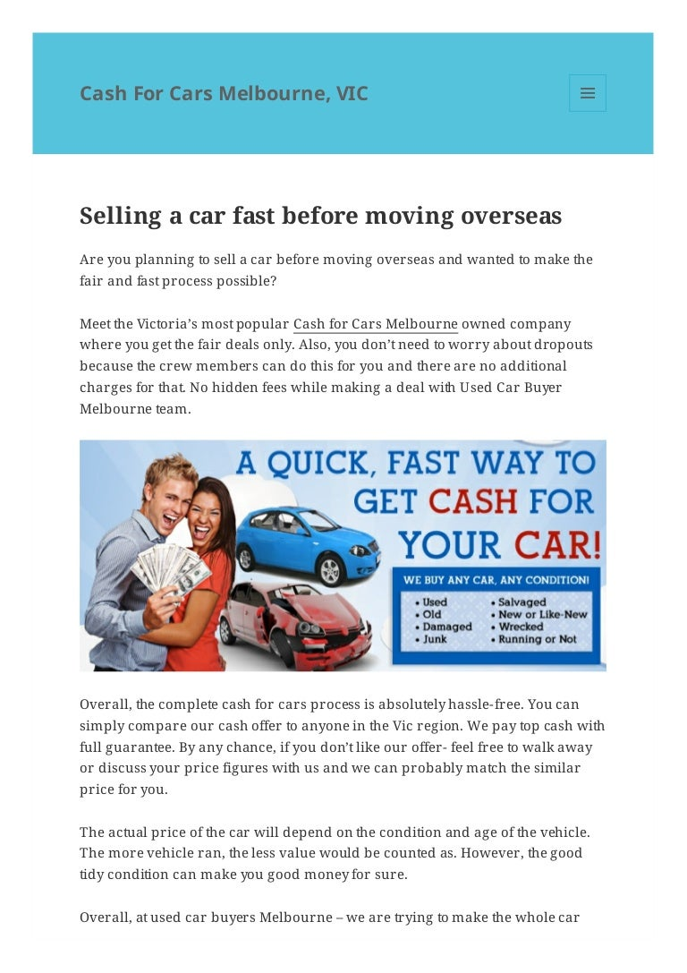 Selling a car fast before moving overseas – Cash For Cars Melbourne, …