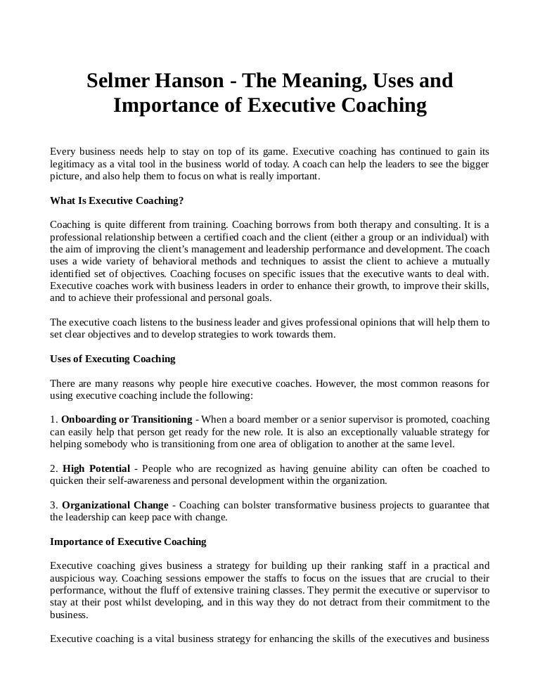the role of a coach and importance of coachs philosophy Your coaching is strongly influenced by your coaching philosophy, which is what you feel is important in coaching it is a set of guiding principles that reflects your personal beliefs, values, motives for coaching and your choice of how you will conduct yourself as a coach.