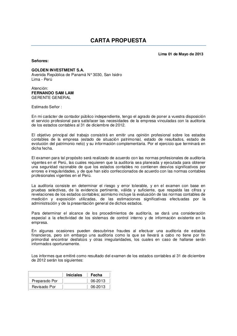 carta propuesta auditoria