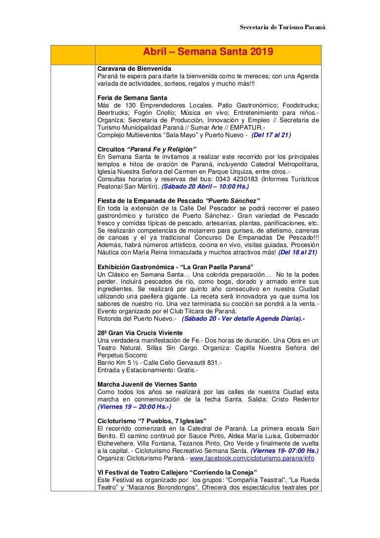 Calendario Perpetuo Semana Santa.Semana Santa Parana 2019