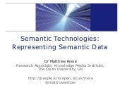 Semantic Technologies: Representing Semantic Data
