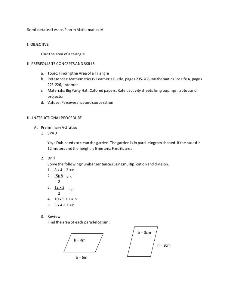 lesson plan in mathematics iv bar Mafs2md410 : draw a picture graph and a bar graph (with single-unit scale) to represent a data set with up to four categories solve simple put-together, take-apart, and compare problems using information presented in a bar graph.
