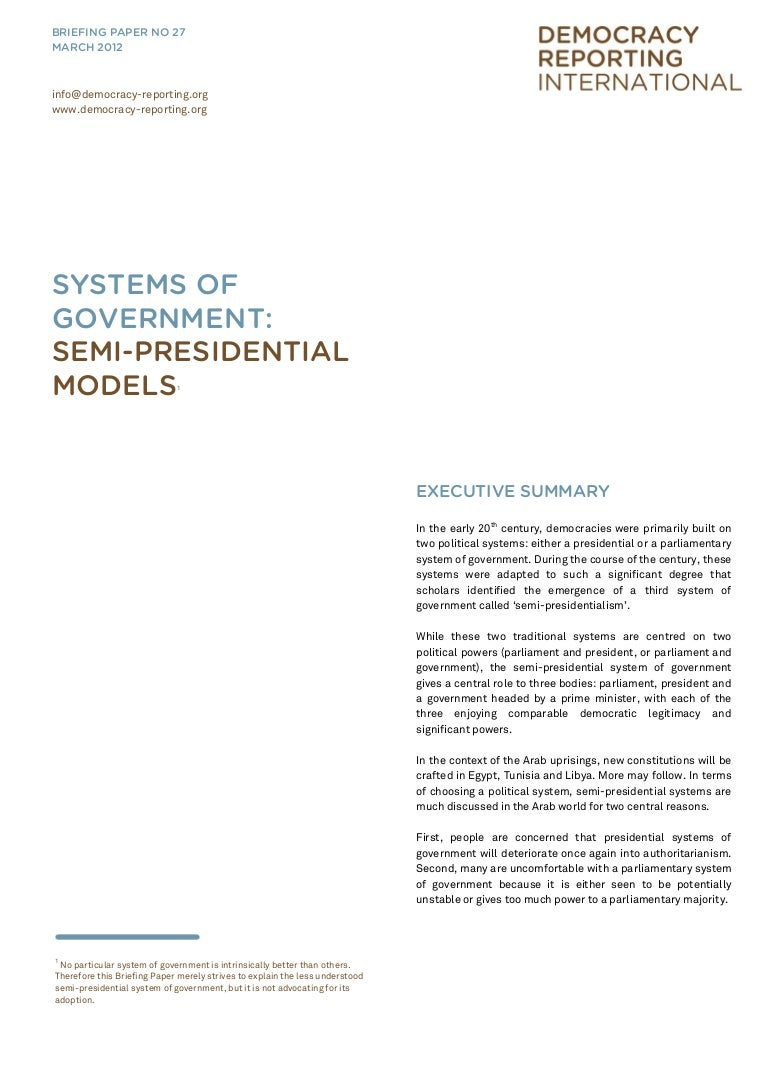 Systems of Government : Semi-Presidential Models