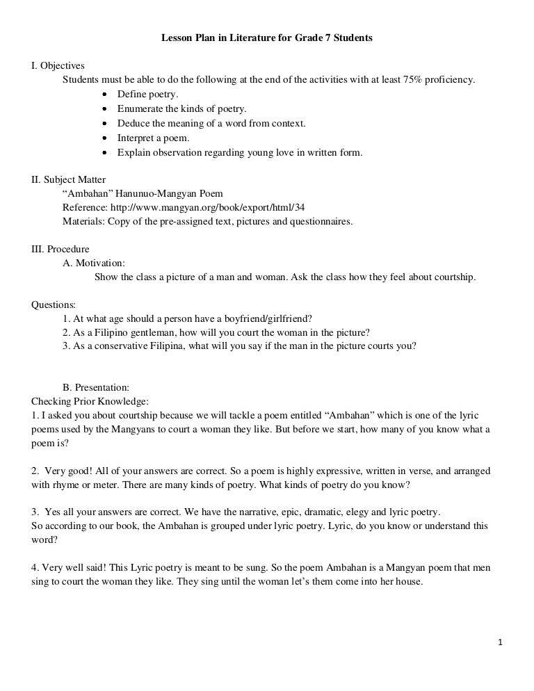What is a detailed lesson plan?
