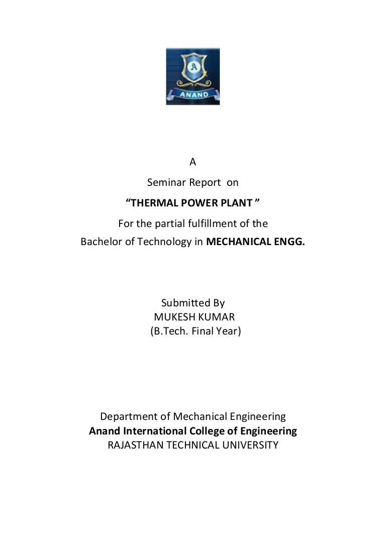 Report On Thermal Power Plant Boiler Layout