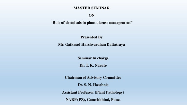 M Sc  (Master's) Seminar on topic