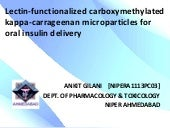 Lectin-functionalized carboxymethylated kappa-carrageenan microparticles for oral insulin delivery