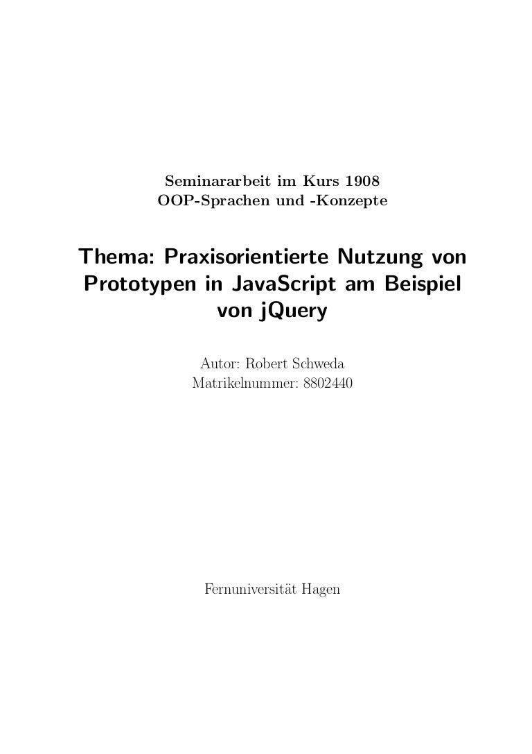 Praxisorientierte Nutzung von Prototypen in JavaScript am Beispiel vo…