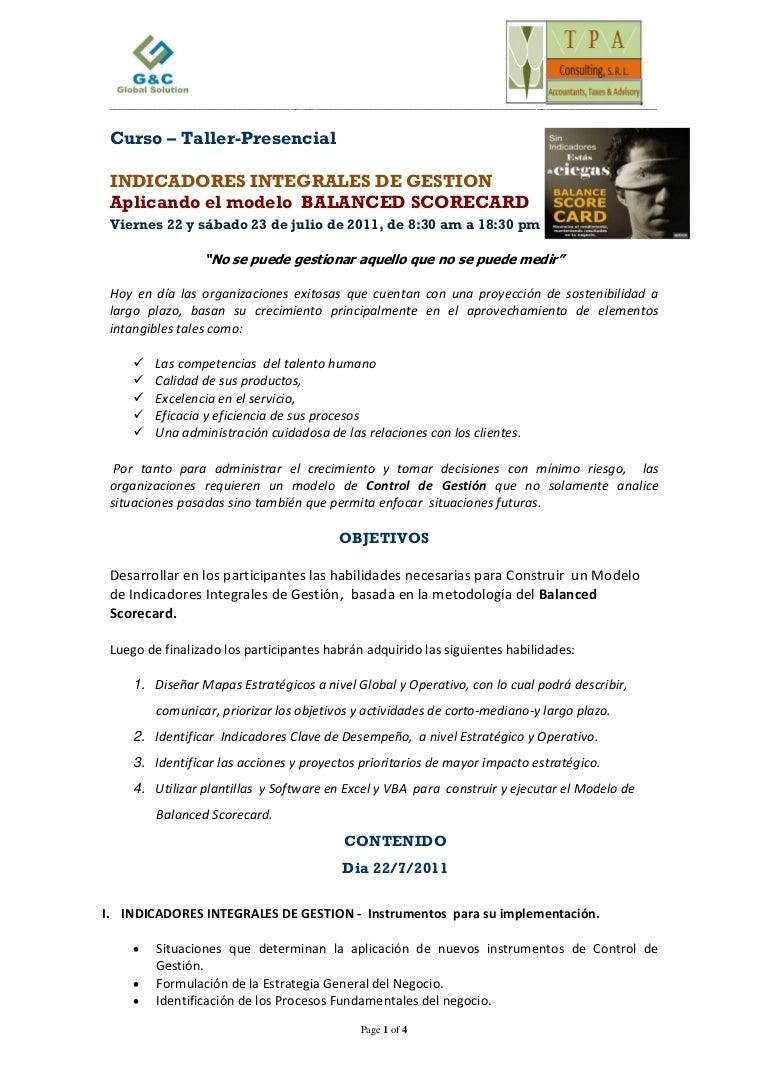 Seminario Indicadores Integrales de Gestión aplicando Balanced Scorec…