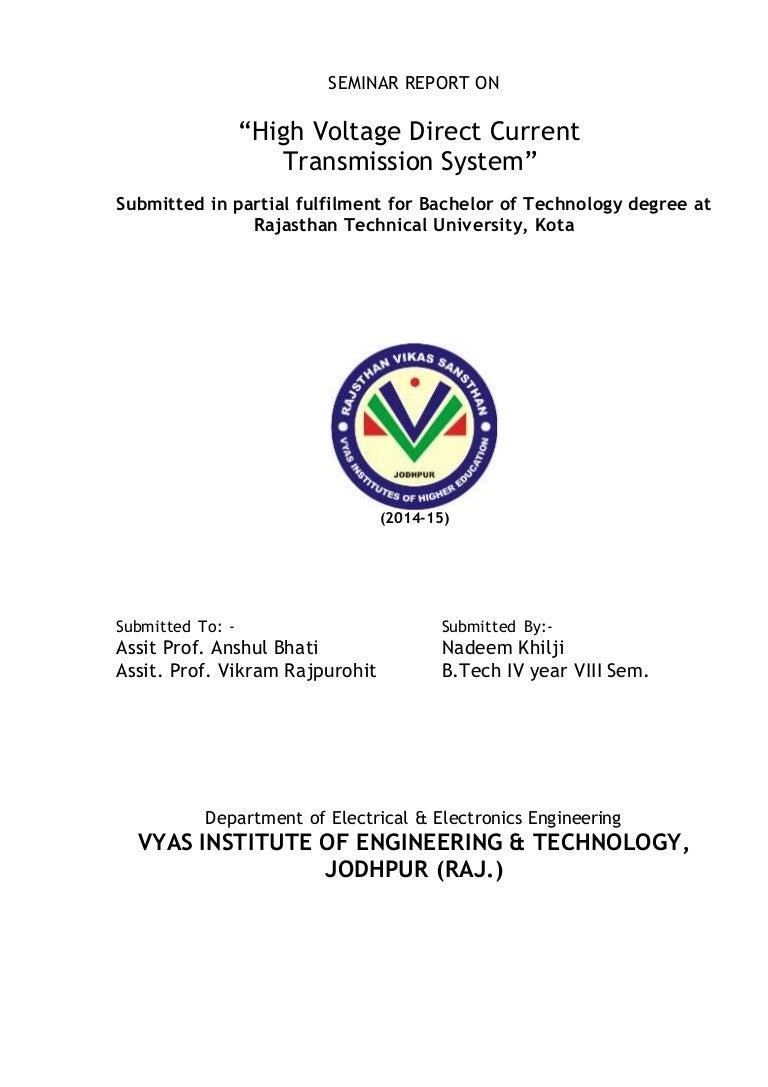 High Voltage Direct Current Transmission System Report Dc Regulator Circuit