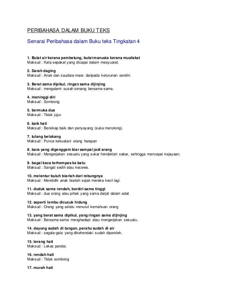 Senarai Peribahasa Dalam Buku Teks Tingkatan 4 Dan 5