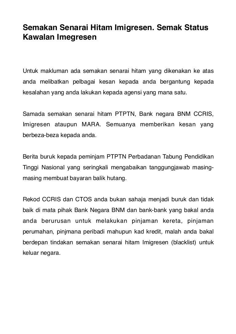 Senarai Hitam Imigresen Di Malaysia
