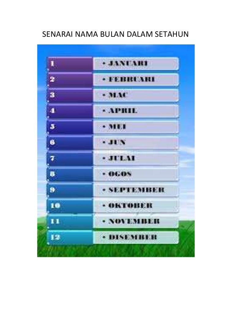Senarai Nama Bulan Dalam Setahun