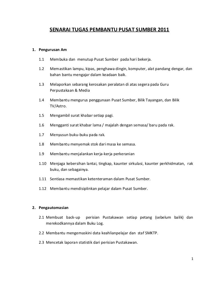 Senarai Tugas Pembantu Pusat Sumber 2011