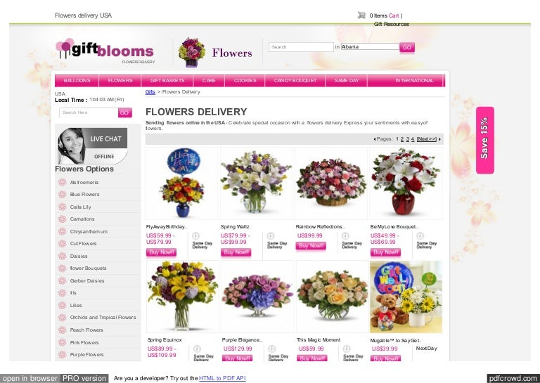 Send Flowers Online To USA